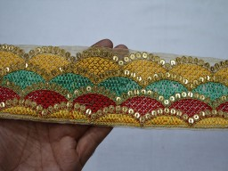 2.6 Inch wide Wholesale Yellow Decorative Indian Trim by 9 yard Crafting Ribbon Embroidered Saree Border Fabric trims and embellishments Sari Border Green and Gold Embroidered Trim