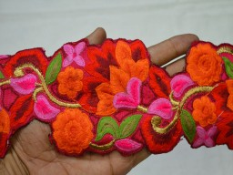 Red Embroidered Designer Trims on Red Silk Fabric