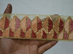 Wholesale Embroidered Ribbon Sari Border Crafting Ribbon Trim Ribbon Border Decorative Ribbon trim by 9 yard Indian Trim tape embellishments Peaches Red and Gold Crafting Ribbon Trim