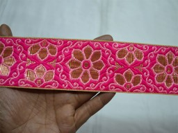 Magenta jacquard trim by 2 yard gold weaving ribbon decorative costumes machine stitched border indian beautiful lace for hat making