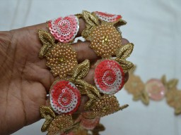 Pink and Gold designer Trims used for designing stylish blouses