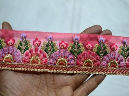 Decorative Indian Coral Red Embellishment Designer Border