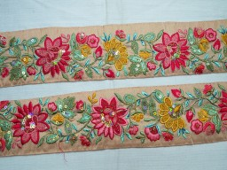 2.5 Inch wide Wholesale Decorative Saree Fabric Trims Embroidery Indian Sari Border Embroidery Embellishments Craft Ribbon Trim By 9 Yard Sewing Costume Mustard Yellow and Gold Embroidered designer Trims