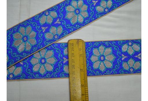 Blue Jacquard Costumes Indian Sari Border Decorative Crafting Sewing Lace