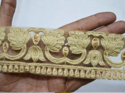 Beige and Gold Embroidered designer Trims on Beige Silk Fabric