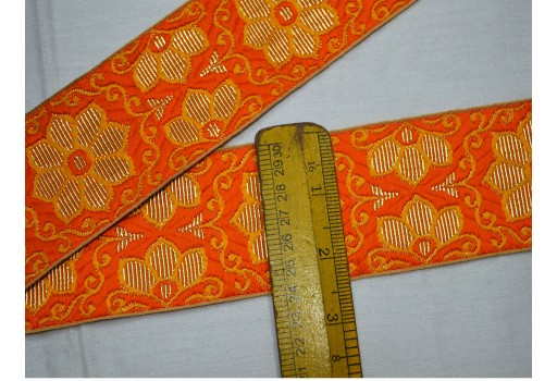 Brocade Jacquard Ribbon Floral Pattern in Orange For Dresses