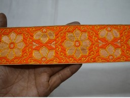 Decorative trim by 2 yard orange and gold weaving border brocade jacquard floral pattern ribbon dancer costume machine stitched lace for clutches