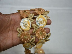 Beautiful Beige, White and Gold designer Trims For Wedding Wear And Dresses