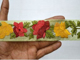 2 Inch wide Wholesale Yellow Embroidery Crafting Ribbon Decorative Indian Trim by 9 yard Embroidered Saree Fabric trims and embellishment Sari Border Maroon Red Yellow Green Embroidered Trim