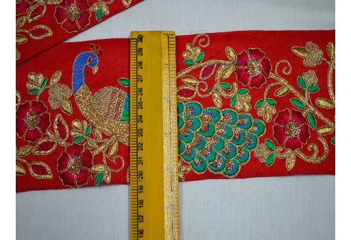 Blue embroidered designer trim by the yard red colour dupion fabric laces peacock design saree border crafting christmas supplies trimmings