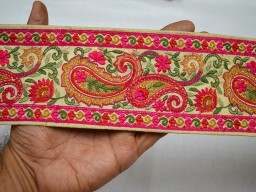 3.2 Inch wide Wholesale Beige Indian Sari Border Craft Ribbon Embroidered Decorative Trim By 9 Yard Trimming Sewing Trim Tape Costume Fashion trim Mustard Yellow Embroidered designer Trims on Beige