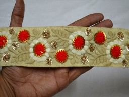 2 inches wide White and Gold for Silk Sari border Wholesale Red Embroidered Sari border Decorative Embellishments Fabric Trim by 9 yard Indian Embroidery Saree Lace Crafting Sewing Costumes Embroidery floral design Lace