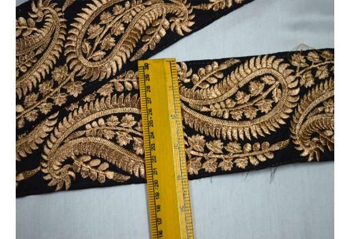 4 Inch wide Wholesale Black Trim Embroidered Saree Trim Gold Thread Work Silk Sari Border Trim By 9 Yard Art Quilt Fabric Trim Crafting Sewing Costume Black And Gold Embroidered designer Fabric Trims