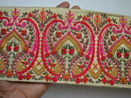 4.5 Inch wide Magenta Red Pale Green and Black Embroidered designer Fabric Trims on Beige silk border Wholesale Beige Embroidered Saree Border Fabric Trim By 9 Yard Wholesale Trimmings Indian Laces and Trims Ribbon indian trim