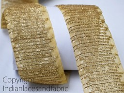 Beige Trim and Gold 3 Inch wide Wholesale Beige Fabric Trim By 9 Yard Indian Laces and Trims Embroidered Saree Trimmings Ribbon Indian Sari Border gold Crafting Sewing