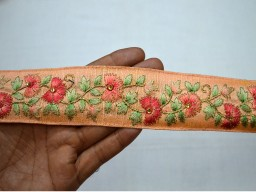 Peach Red Green Beige Gold Embroidered designer Trims 1.7 Inch wide Wholesale Peach Embroidered Saree Trim By 9 Yard Decorative Sari Border Indian Fabric Trim Laces Sewing Costume Trimmings Fashion tape Craft