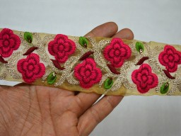 2 Inch wide Wholesale Magenta Embroidery Fabric Trim Embellishment Indian Trim By 9 Yard Embroidered Saree Ribbon Sari Border Decorative Sewing Crafting Olive Green Embroidered designer Trims