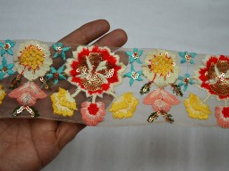 Turquoise embroidered designer trim by the yard ivory net fabric ribbon beautiful stunning border decorative sewing crafting accessories for designing stylish jewellery making