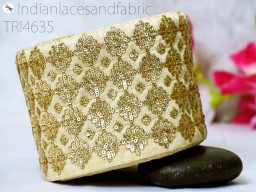 Beige and Gold Embroidered designer Fabric Trims For dresses