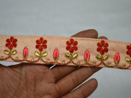 Peach Saree Border Fabric Trims And Embellishments Decorative Embroidery Trim 1.3 Inch wide Wholesale Peach Embroidery Border and embellishments Indian Laces Trims Decorative Embroidered Trim By 9 Yard Sari Borders Crafting ribbon