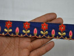 Embroidery designer Trims in Navy Blue Coral and Gold 1.3 Inch wide Wholesale Saree Embroidered Border Fabric trims and embellishments Indian Laces Trims Decorative Embroidered Trim By 9 Yard