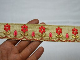 Beige Decorative Embroidered Trim By 2 Yard Sari Borders Crafting ribbon