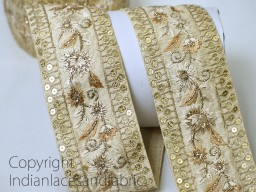 Beige embroidered floral patter trim by the yard floral patter design scrap booking crazy quilting ribbon decorative wedding wears and dresses trimmings