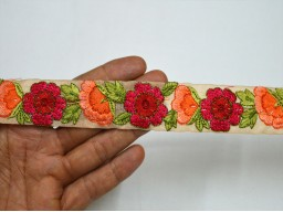 1.2 Inch wide Embroidery designer Trims in Peach Rose Red Wholesale Peach Decorative Saree Border Fabric trims embellishments Indian Laces Embroidered Trim By 9 Yard Sari Borders Crafting ribbon