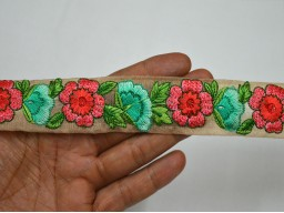 1.2 Inch wide Embroidered Trim By 9 Yard Sari Borders Crafting ribbon Wholesale Green Decorative Saree Border Fabric trims embellishments Indian Laces designer Trims in Pink Red Sea Green Olive Green