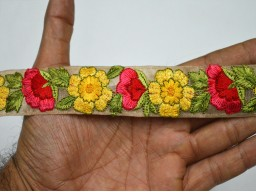 Red And Yellow Floral Thread Work Embellishments Embroidered Designer Trim