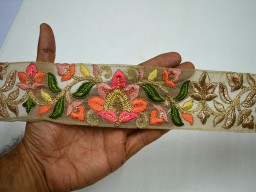 2.3 Inch wide Wholesale Indian Laces Trim By 9 Yard Fabric Trim Embroidered Saree Decorative Trims Sari Border Sewing trim Crafting Ribbon Peach Pink Beige and Gold Embroidered designer Trims