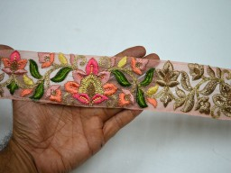 2.3 Inch wide Peach Pink Beige and Gold Embroidered designer Trims on Pink color organza fabric Wholesale Pink Indian Laces Trim By 9 Yard Fabric Trim Embroidered Saree Decorative Sari Border Fashion trim Crafting Ribbon