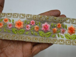 2.5 Inch wide Decorative Ribbon Trimmings Craft Ribbon Wholesale Peach Crafting Sewing Embroidered Indian Sari Trimmings Ribbon Saree Border Fabric Trim By 9 Yard Home Décor Clothing Accessories