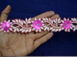 Magenta White Indian Beaded Lace Trim by the Yard Handmade Wedding Dress tapes Bridal Trimming