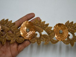 Exclusive Antique Gold Indian Beaded Lace Handmade Wedding Dress tapes Bridal Belt Sashes Decorative Crafting Sari Border