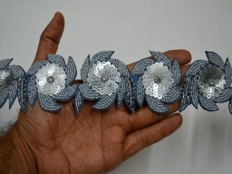 Exclusive Grey Indian Beaded Lace Trim by the Yard For Wedding Dreess Lace