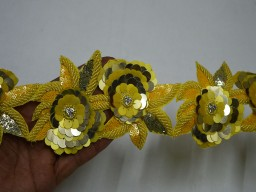 Sequins Yellow Gold Indian Beaded Lace Trim by the Yard Wholesale Border For Dresses