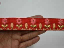 Embroidered trim by 2 yard sari borders scrap booking designer costume dresses border beautiful peach embellishments crafting ribbon sewing clothing accessories