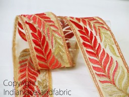 Coral Red Embroidered Trim by 2 yard leaf pattern design ribbon beige Organza fabric border decorative dancer dress costume lace embellishments for jewellery making