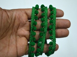 Green Velvet Beaded lace Trim Green Fringe Trim decorative trim for curtains Crafting Wholesale Velvet Beaded Sewing Trim by 9 yard