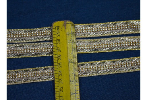 Decorative gold kundan costume trim by 4 yard beautiful designer dress costume fashion tape lace embellishments festive mood ribbon embellishments for wedding dresses
