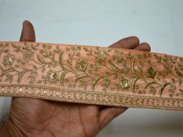 "2.5"" Peach Gold Trim Indian Fabric Trims Embroidered Ribbon Indian Sari Border Embroidery Trimmings For Lahenga embellishments Saree Laces by the Yard"