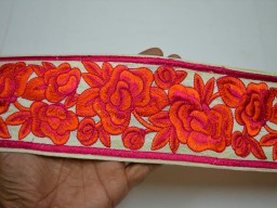 """3"""" Orange Sewing Indian Fabric Trim Embroidered Saree Costume Embroidery Trimmings tape Sewing Border By The Yard"""