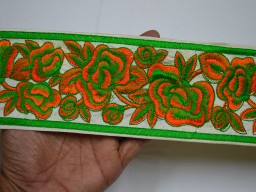 "3.5"" Green Sewing Indian Fabric Trim Crafting Sari Border Decorative Embroidered Saree Costume Embroidery Trimmings tape Sewing Designer Border bY The Yard"