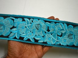 """3"""" Turquoise Sewing Indian Fabric Trim Decorative Embroidered Saree Costume Embroidery Trimming tape Sewing Crafting Sari Border By The yard"""