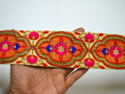 2.5 Inch wide Wholesale Orange Sewing Indian Crafting Sari Border Fabric Trim By 9 Yard Decorative Embroidered Costume Embroidery Saree Fashion Trimmings