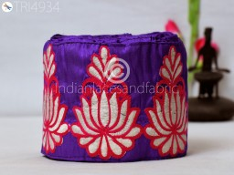 4.2 Inch wide Wholesale Purplish Blue Indian Laces Saree Sewing Embroidered Decorative Sari Border Fabric Trim By 9 Yard Embroidery Trimmings Costume tape