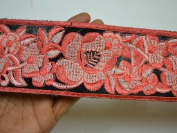 "3"" Peach Crafting Sari Border Costume Embroidery Trimming tape Sewing Decorative Embroidered Saree Lace Indian Fabric Trim By The Yard"