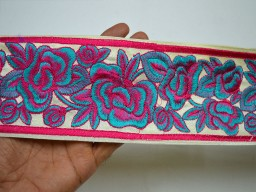 "3.5"" Magenta Crafting Sari Border Decorative Embroidered Saree Costume Embroidery Trimming tape Sewing Sewing Indian Fabric Trim By The Yard"