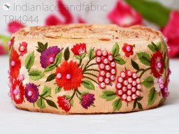 Peach Magenta Red Green 2.8 Inch wide Wholesale Peach Embroidery Indian Sari Border By 9 Yard Silk Embroidered Ribbon Trims Decorative Sewing Fabric Trim Craft Ribbon Trimmings